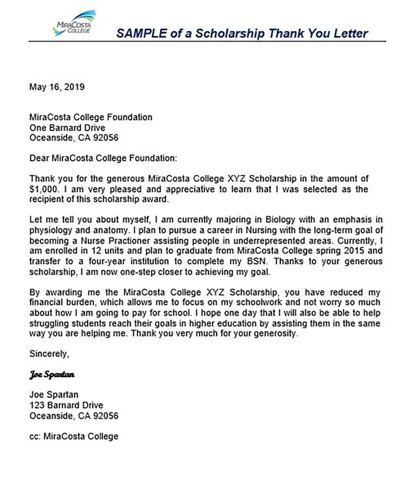 11+ Scholarship Thank You Letter Sample for Doc, PDF ...
