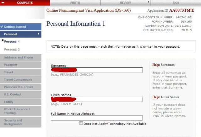 How To Fill The U S Ds160 Visa Application Form With