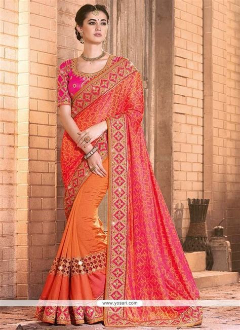 Buy Excellent Mirror Work Silk Designer Bridal Sarees