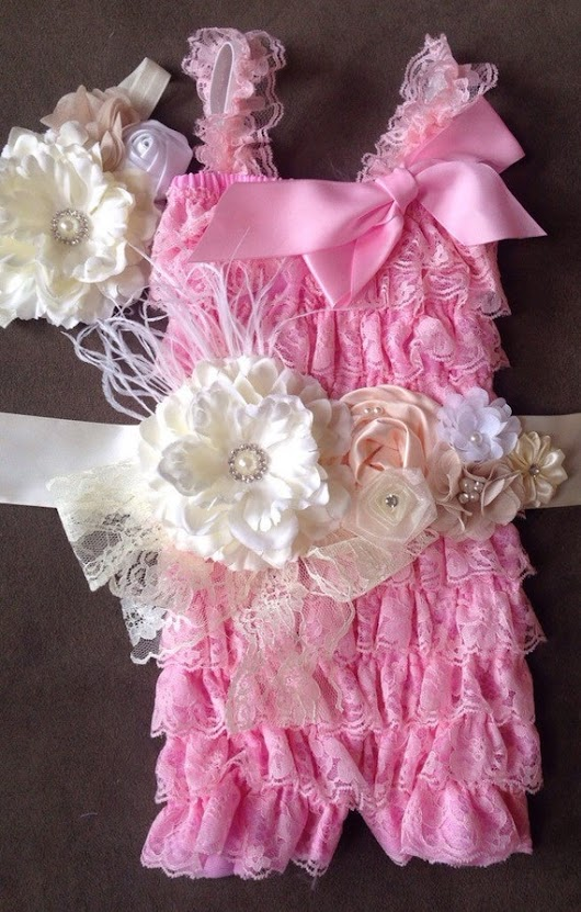 Baby Girl's Pink Lace Petti Romper w/ by My2DaughtersBowtique
