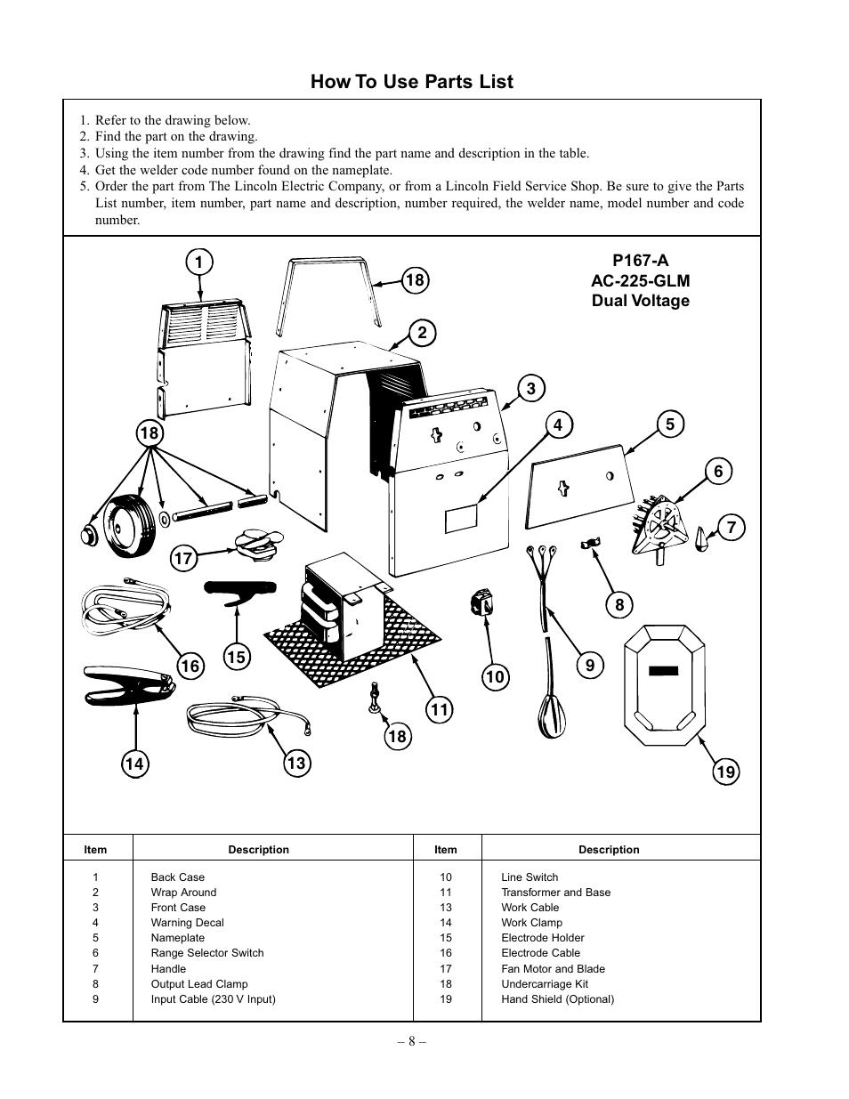 Lincoln Welder Ac 225 Parts List