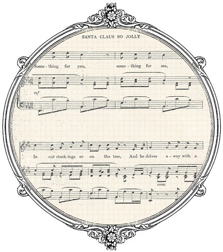 Vintage Christmas sheet music GF paper SAMPLE
