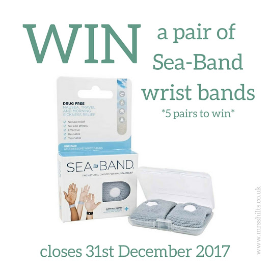 Blogger @mrsshilts UK Giveaway: Win one of five pairs of @SeaBandNausea Wristbands - Closes 12/31/2017 - Bloggers Required