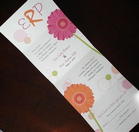 Pink, Orange, Gerber Daisy Wedding Invitation, Unique