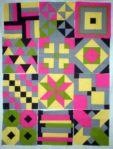 Modern Solids Patchwork Squared Blocks 1 - 12