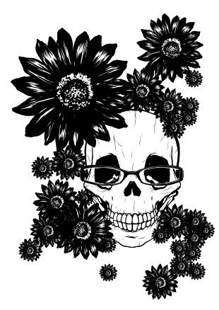 ドクロ 黒花と髑髏と眼鏡