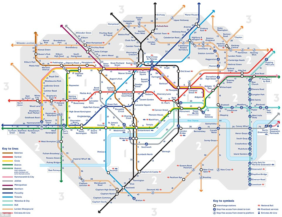 Pioneering: This map shows how long it takes to walk between each of the stations on the London Underground