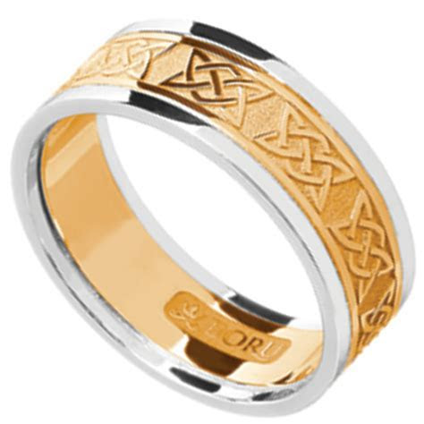 Irish Ring   Men's Yellow Gold with White Gold Trim Lovers