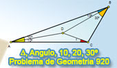 Problema de Geometría 920 (English ESL): Triangulo, Ángulos 10, 20, 30 Grados