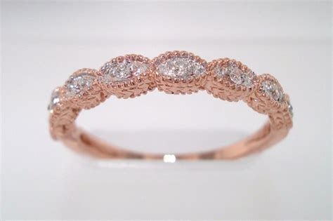 Rose Gold Brides Wedding Band with Diamonds   OneWed.com