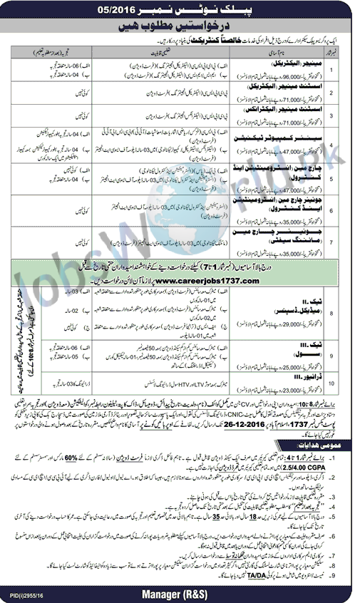PO Box No 1737 Islamabad Jobs December 2016, Contract Based Posts