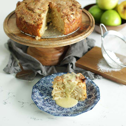 Irish Apple Cake Recipe with Vanilla Custard Sauce