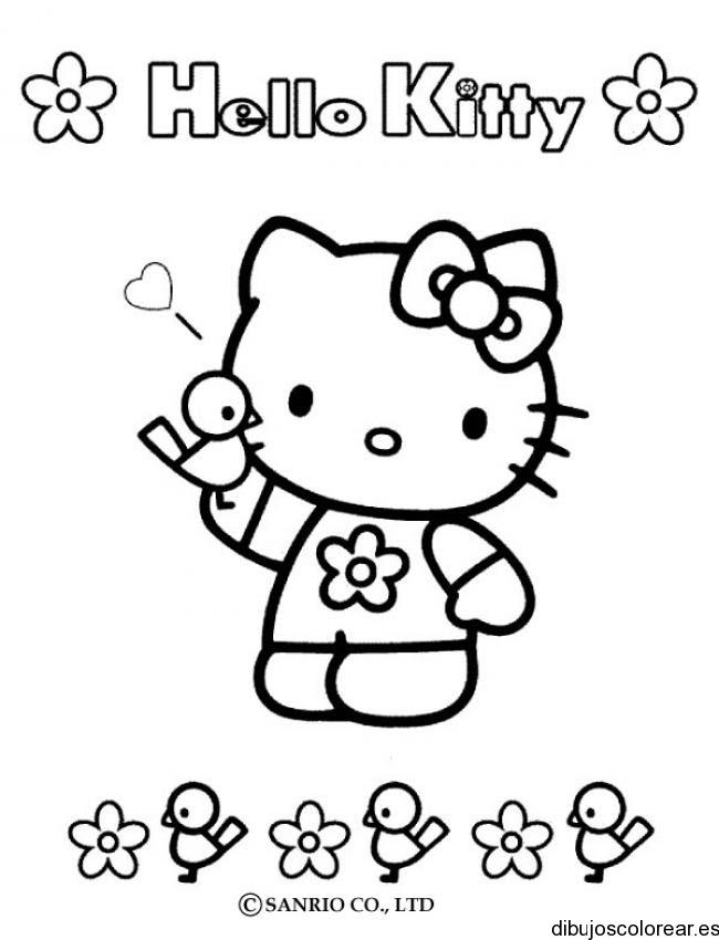 Dibujo De Hello Kitty Con Un Pájarito