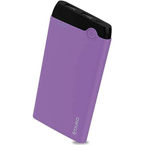 Aduro Power Dual USB LED Indicator 10,000mAh External Battery with 2 USB Port, Purple