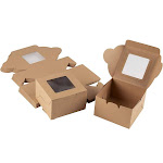 Kraft Paper Bakery Boxes - 25-Pack Single Pastry Box 4-Inch Packaging with Clear Display Window, Donut, Mini Cake, Pie Slice, Dessert Disposable Take-