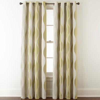 Studio Linen Swirl Room Darkening Grommet Top Curtain Panel Jcpenney