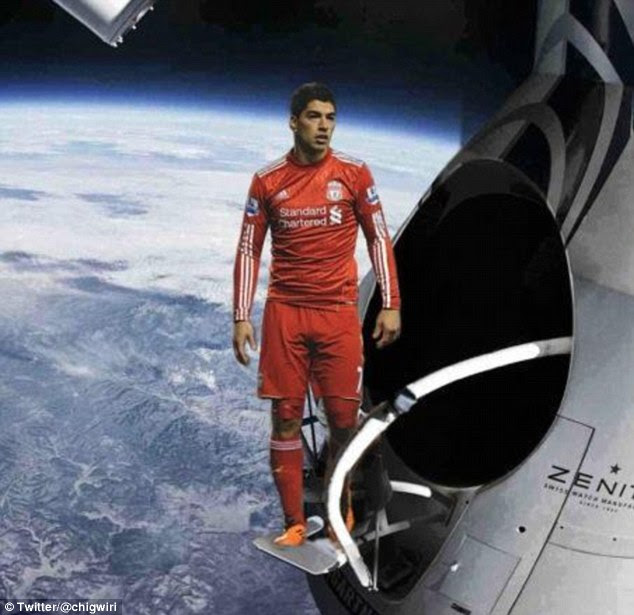 Liverpool player Luis Suarez looks calm and collected as he stands on Baumgartner's platform