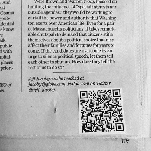 Boston Globe QR Code Example