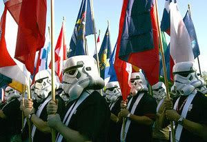 'Star Wars' fans from around the world don stormtrooper helmets as they prepare to march in today's Rose Parade in Pasadena, California.