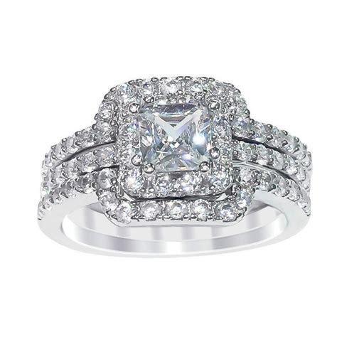 Sterling Silver Princess Cut Cubic Zirconia Engagement