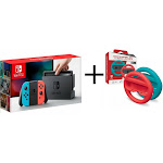 Nintendo Switch 32GB Gray Console with Neon Red and Blue Joy-Con + Racing Wheels