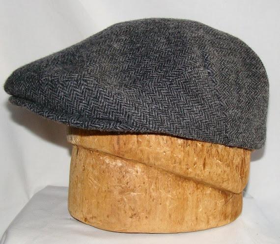 Custom Handmade Men's Charcoal and Grey Herringbone Wool Hat - Golf Cap Flat Jeff Cap, Ivy Cap, Driving Cap for Boys, Toddler, & Baby Too