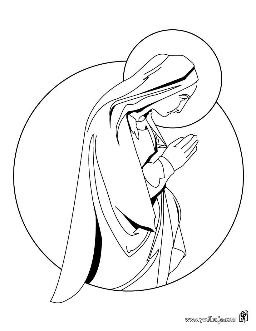 Dibujos Para Colorear La Virgen Maria Rezando Eshellokidscom