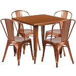 31.5SQ Copper Metal Table Set ET-CT002-4-30-POC-GG