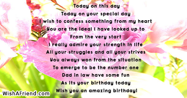 Birthday Poems For Father In Law