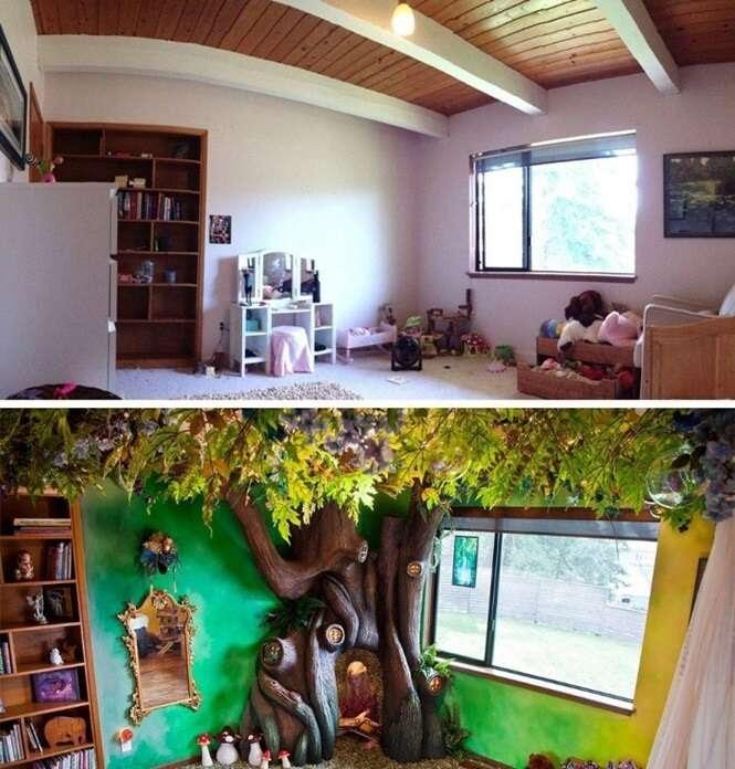 Pai transforma quarto da filha em cenário de contos de fadas