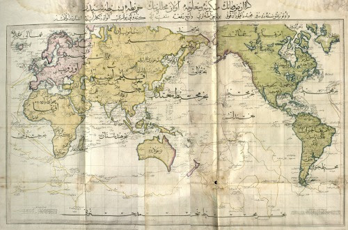 Ottoman world map from the Cedid Atlas, the first atlas printed in the Muslim world, published in 1803. This, only the 15th extant copy of the atlas, was discovered by a librarian in Norway and posted on reddit.