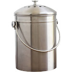 Natural Home 1.3-Gallon Stainless Steel Compost Bin, Silver