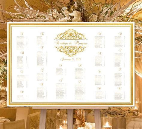 Wedding Seating Chart Poster Grace Gold Print Ready