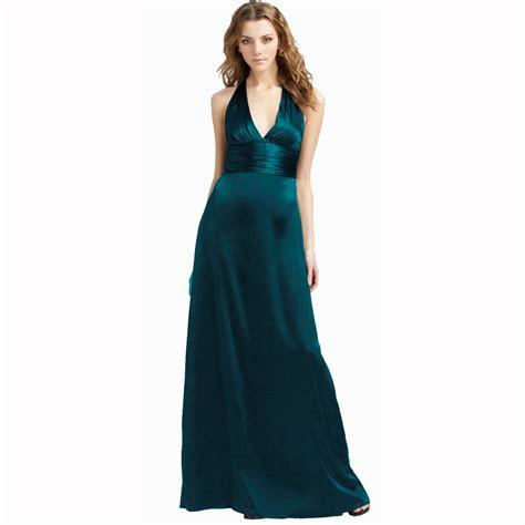 halter neck silk satin formal evening gown bridesmaid
