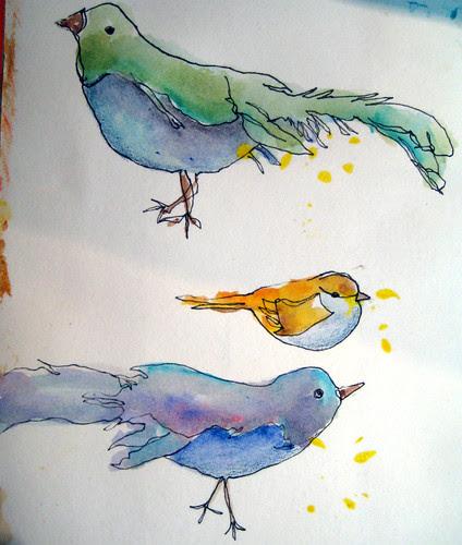 continous line birds