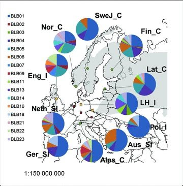 map  europe showing pie charts   population  frequency   scientific