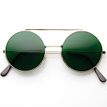Limited Edition Color Flip-Up Lens Round Circle Django Sunglasses, Green