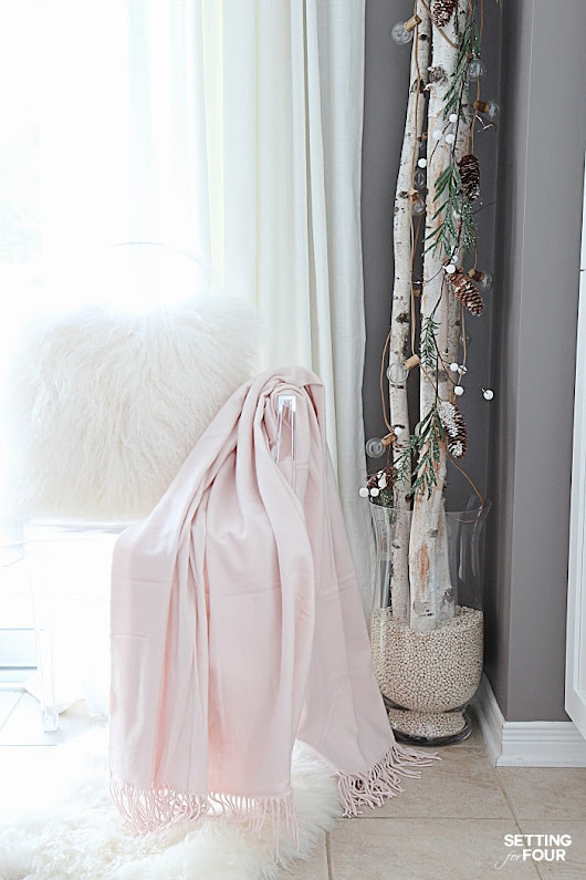 10 Minute Winter Decorating with Birch Poles - Setting for Four