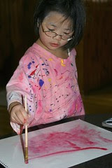 Olivia Doing Wet-on-Wet Watercolor Painting