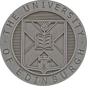 The coat of arms of the University of Edinburg...