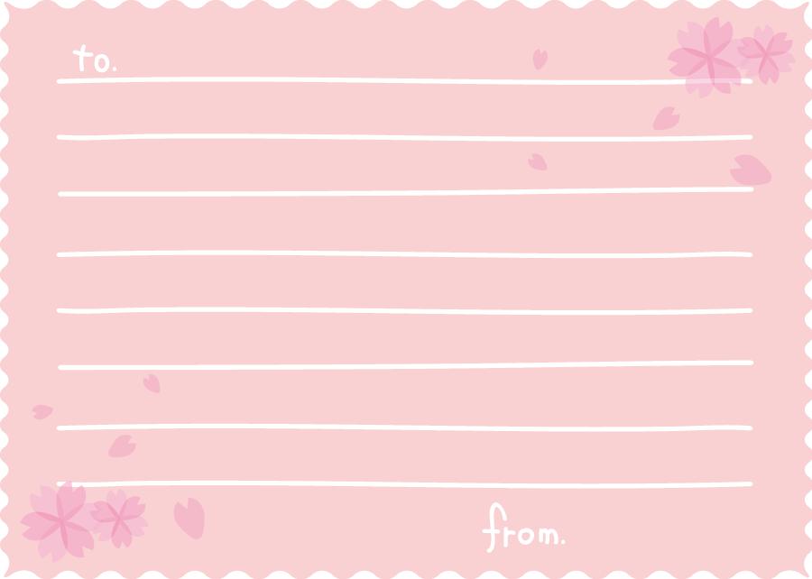 フリーイラスト 桜の花とメッセージカードでアハ体験 Gahag
