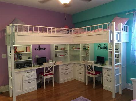 custom  dual loft beds  desks kids room decor