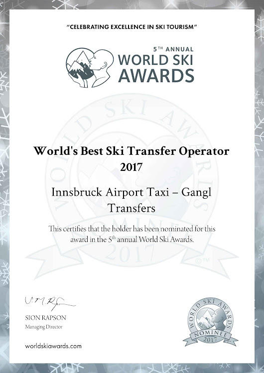 World Ski Awards - Innsbruck Airport Taxi takes part!