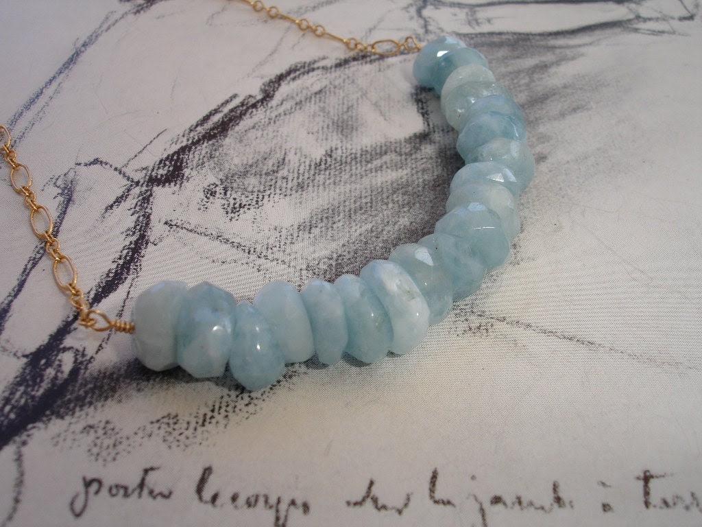 Aquamarine Gold Fill Necklace, Faceted Rondelles, Natural, Modern, Organic - kalypsocreations