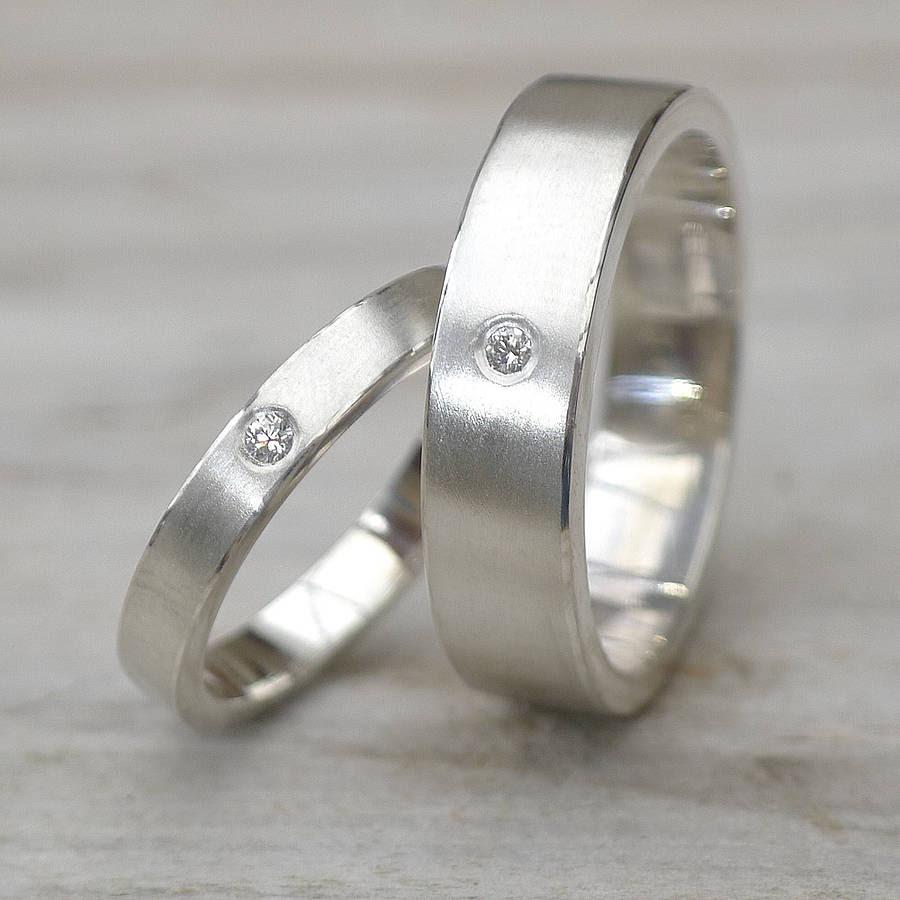 Matching silver wedding rings