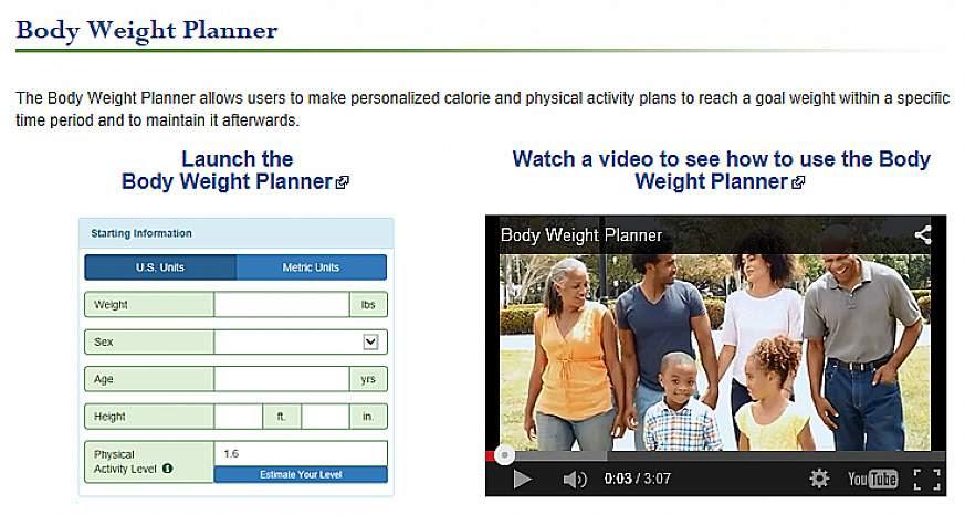 Screenshot of the Body Weight Planner website.