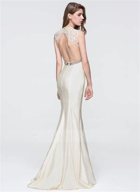 Trumpet/Mermaid Scoop Neck Sweep Train Jersey Prom Dresses