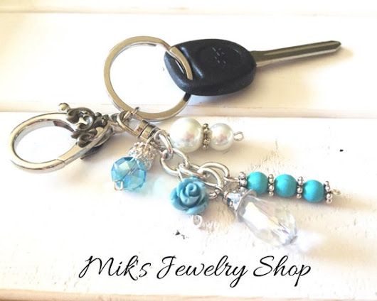 flower keychain turquoise key chain key fob bag charm purse