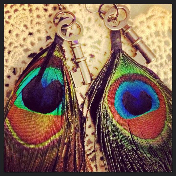 Earrings- Hippie Bohemian Indie Gypsy Peacock and Skeleton Key Jewelry