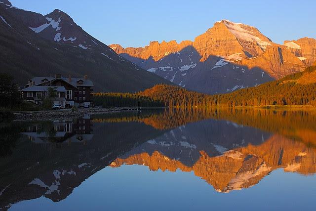 IMG_0523 Many Glacier Hotel and Mount Gould, Sunrise, Glacier National Park